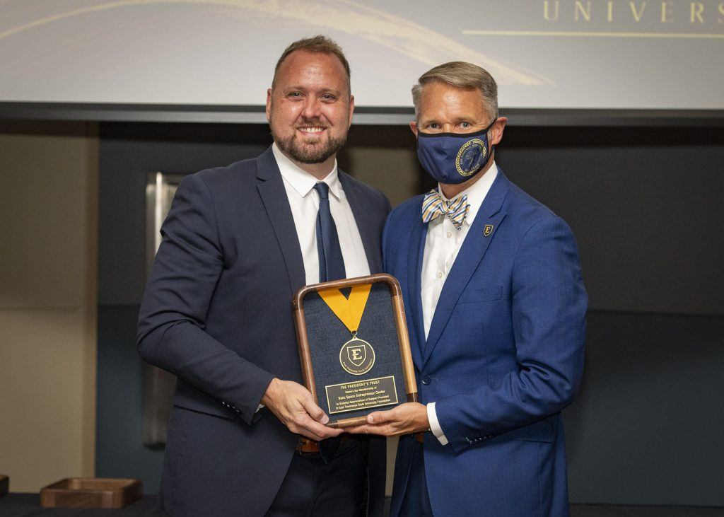 Heath Guinn, President of Sync Space, with Brian Noland, President of ETSU